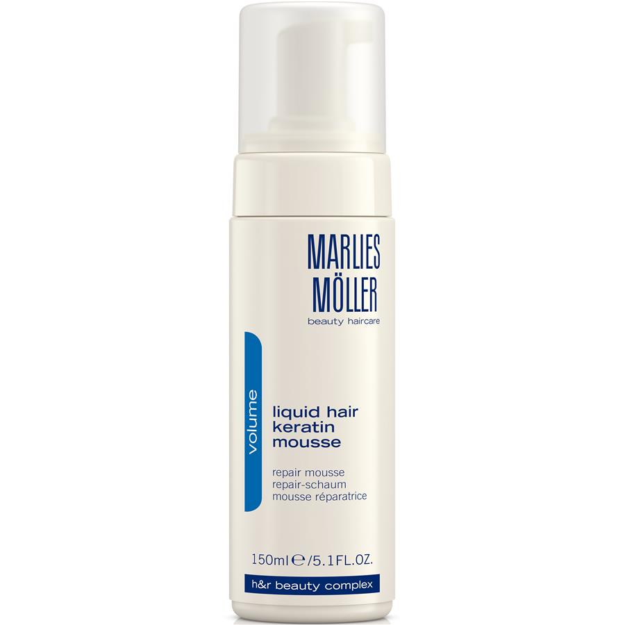 Marlies Moller Мусс Volume восстанавливающий структуру волос, 150 млSatin Hair 7 BR730MNМусс делает тонкие волосы более плотными, на ощупь более густыми. Это средство можно назвать кератиновым ламинированием в домашних условиях. Жидкий кератин содержится в виде пены, восстанавливает кутикулу волос, замещает повреждения, обволакивает каждый отдельный волос. Делает волос более плотным. Придает ощутимый объем и силу. Дарит волосам блеск. Облегчает расчесывание. Создает основу для стайлинга. Уникальная формула не требует утюжков. Ремонтирует кутикулу, замещает повреждения. Волосы становятся более плотными, сильными, появляется ощущение густоты - объема.Возьмите небольшое количество средства в ладони. Нанесите на подсушенные полотенцем волосы. Затем, используйте фен для активации средства. Укладывайтесь как обычно.
