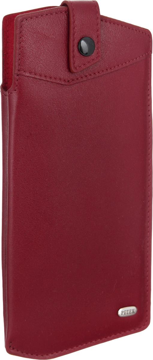 Футляр для очков Petek 1855, цвет: красный. 631.4000.10BM8434-58AEСтильный футляр для очков Petek 1855 изготовлен из натуральной кожи с гладкой фактурой. Лицевая сторона изделия оформлена небольшой металлической пластиной с гравировкой в виде названия бренда.Изделие закрывается хлястиком на кнопку, внутренняя поверхность изделия выполнена из бархатистой ткани, что позволит защитить очки от механических повреждений. Футляр упакован в коробку из плотного картона с логотипом фирмы.Практичный аксессуар прекрасно дополнит ваш образ.