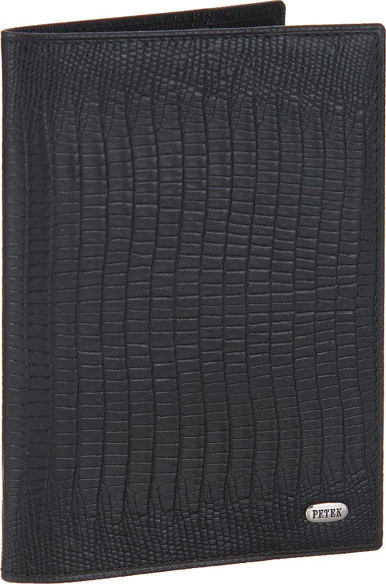Обложка для паспорта Petek 1855, цвет: черный. 581.041.01OZAM181Стильная обложка для паспорта Petek изготовлена из натуральной кожи с декоративным тиснением под кожу рептилии. Лицевая сторона изделия оформлена небольшой металлической пластиной с гравировкой в виде названия бренда.Изделие поставляется в фирменной упаковке.Обложка для паспорта поможет сохранить внешний вид ваших документов и защитить их от повреждений, а также станет стильным аксессуаром.