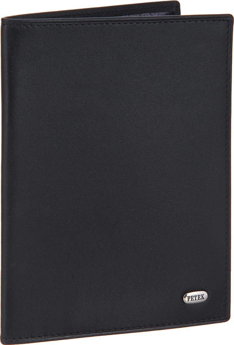 Обложка для паспорта мужская Petek 1855, цвет: черный. 651.000.01651.000.01 BlackСтильная обложка для паспорта Petek изготовлена из натуральной кожи с гладкой фактурой. Лицевая сторона изделия оформлена небольшой металлической пластиной с гравировкой в виде названия бренда.Внутри изделия расположены: отделение для паспорта, сетчатый карман, три кармашка для пластиковых карт, один из которых сетчатый, и карман для мелких документов.Изделие поставляется в фирменной упаковке.Обложка для паспорта поможет сохранить внешний вид ваших документов и защитить их от повреждений, а также станет стильным аксессуаром.