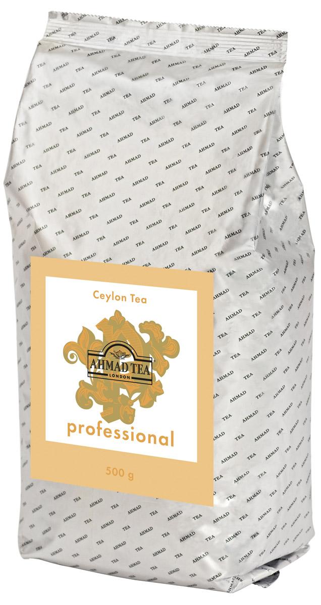 Ahmad Tea Professional Цейлонский черный листовой чай, 500 г0120710Цейлонский чай Ahmad Tea Professional отличает выразительный крепкий вкус с характерной для этого региона горчинкой. Качественный цейлонский чай ценится во многих странах мира, на чайных аукционах спрос на него по-прежнему выше, чем предложение. Настой напитка имеет темно-коричневый цвет. Вкус насыщенный, с терпкой нотой и ореховым послевкусием.