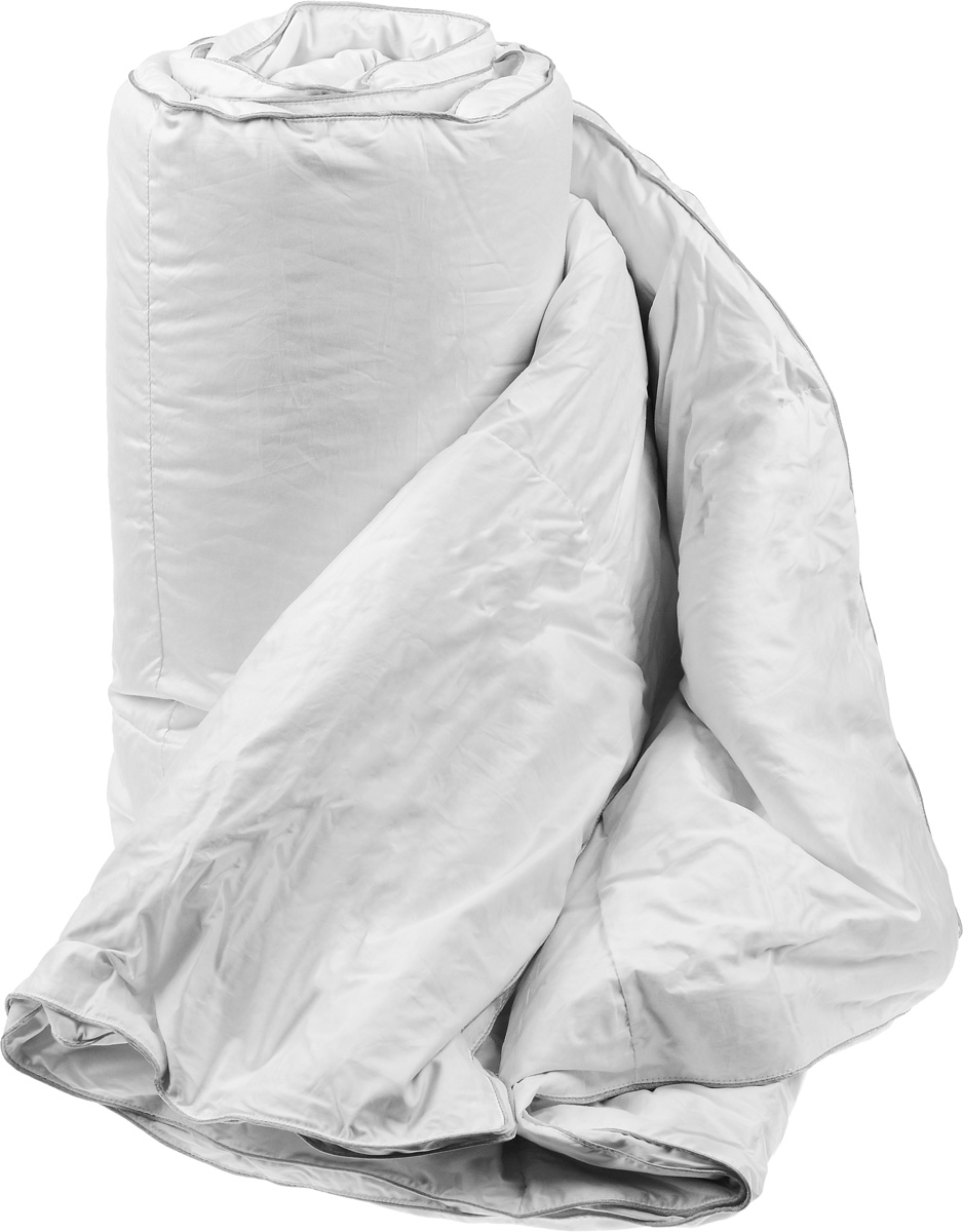 Одеяло теплое Легкие сны Лоретта, наполнитель: гусиный пух категории Экстра, 200 х 220 см12fs05060Теплое одеяло размера евро Легкие сны Лоретта поможет расслабиться, снимет усталость и подарит вам спокойный и здоровый сон. Одеяло наполнено серым гусиным пухом категории Экстра, оно необычайно легкое, пышное, обладает превосходными теплозащитными свойствами. Кассетное распределение пуха способствует сохранению формы и воздушности изделия. Чехол одеяла выполнен из благородного белоснежного пуходержащего сатина (100% хлопок). Серый шелковый кант изящно подчеркивает форму и оттеняет гладкость и блеск сатина. Цвет изделия дает возможность использовать постельное белье светлых оттенков. Под нежным, мягким и теплым одеялом вам приснятся только сказочные сны. Одеяло можно стирать в стиральной машине.