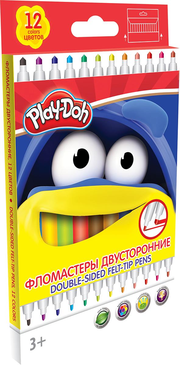 Play-Doh Набор двусторонних фломастеров 12 цветовFS-36054Набор двусторонних фломастеров Play-Doh с наконечниками разной толщины, предназначенный специально для рисования и закрашивания, обязательно порадует юных художников и поможет им создать яркие и неповторимые картинки.Корпус фломастеров изготовлен из высококачественного нетоксичного пластика, а вентилируемый колпачок увеличивает срок службы чернил и предотвращает их преждевременное высыхание. А благодаря нейлоновому стержню, увеличенному содержанию чернил и улучшенному пишущему узлу фломастеры прослужат еще дольше!Набор включает в себя 12 фломастеров ярких насыщенных цветов.