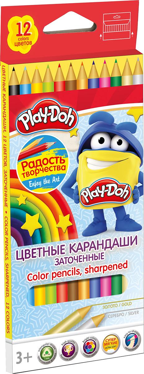 Play-Doh Набор цветных карандашей 12 цветов730396Цветные карандаши Play-Doh откроют юным художникам новые горизонты для творчества, а также помогут отлично развить мелкую моторику рук, цветовое восприятие, фантазию и воображение.Эргономичная трехгранная форма корпуса прививает навык правильно держать пишущий инструмент и удобна для маленьких детских ручек. Специальное покрытие и лакировка уменьшает скольжение, что делает процесс рисования максимально комфортным. Мягкий ударопрочный грифель не ломается и не крошится при заточке. Набор включает 12 заточенных карандашей ярких насыщенных цветов, включая золотистый и серебристый.
