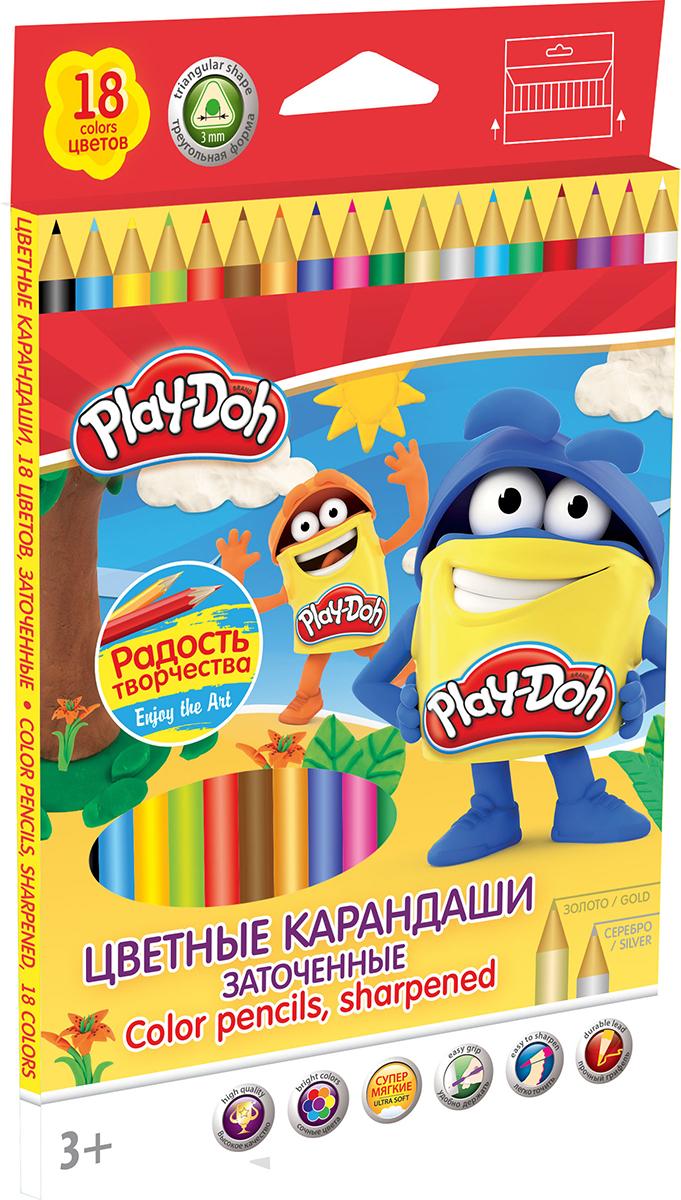 Play-Doh Набор цветных карандашей 18 цветов72523WDЦветные карандаши Play-Doh откроют юным художникам новые горизонты для творчества, а также помогут отлично развить мелкую моторику рук, цветовое восприятие, фантазию и воображение.Эргономичная трехгранная форма корпуса прививает навык правильно держать пишущий инструмент и удобна для маленьких детских ручек. Специальное покрытие и лакировка уменьшает скольжение, что делает процесс рисования максимально комфортным. Мягкий ударопрочный грифель не ломается и не крошится при заточке. Набор включает 18 заточенных карандашей ярких насыщенных цветов, включая золотистый и серебристый.