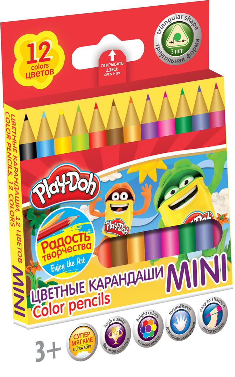 Play-Doh Набор цветных карандашей Mini 12 цветов72523WDЦветные карандаши Play-Doh Mini откроют юным художникам новые горизонты для творчества, а также помогут отлично развить мелкую моторику рук, цветовое восприятие, фантазию и воображение.Эргономичная трехгранная форма корпуса прививает навык правильно держать пишущий инструмент и удобна для маленьких детских ручек. Специальное покрытие и лакировка уменьшает скольжение, что делает процесс рисования максимально комфортным. Мягкий ударопрочный грифель не ломается и не крошится при заточке. Набор включает 12 заточенных карандашей ярких насыщенных цветов.