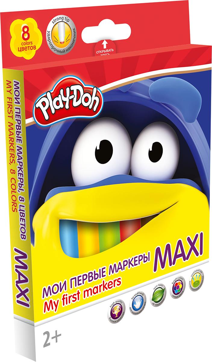 Play-Doh Набор маркеров Maxi 8 цветов72523WDНабор оригинальных маркеров для самых маленьких Play-Doh Maxi - настоящее сокровище для юного декоратора. Данные фломастеры разработаны специально для малышей от 2 лет. Утолщенный корпус фломастеров изготовлен из высококачественного нетоксичного пластика, авентилируемый колпачок увеличивает срок службы чернил и предотвращает их преждевременное высыхание. Фетровый наконечник закругленной формы выдерживает самый сильный нажим и удар. Рисует под любым углом.Набор включает в себя 8 маркеров ярких насыщенных цветов. Набор, предназначенный специально для рисования и закрашивания, обязательно порадует юных художников и поможет им создать яркие и неповторимые картинки.