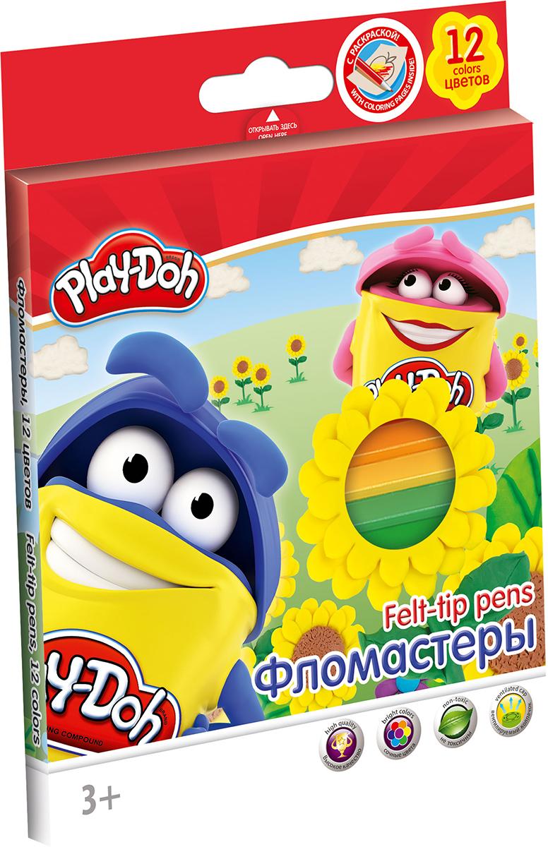 Play-Doh Набор фломастеров 12 цветовPP-220Рисование фломастерами Play-Doh способствует развитию творческого мышления, мелкой моторики рук, цветового восприятия, фантазии и воображения ребенка.Если юный художник испачкает одежду или руки, чернила с легкостью отстирываются и отмываются с помощью обычного мыла.Стержни фломастеров выполнены из нейлона.В набор входят 12 разноцветных фломастеров и раскраска.