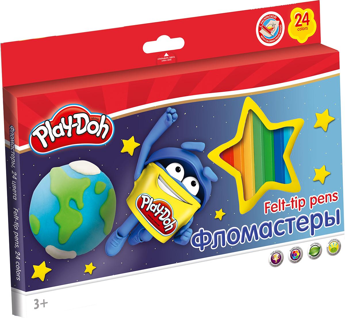 Play-Doh Набор фломастеров 24 цвета72523WDНабор фломастеров Play-Doh, предназначенный для художественно-оформительских работ, обязательно порадует юных художников и поможет создать яркие и неповторимые картинки.Корпус фломастеров изготовлен из высококачественного нетоксичного пластика, а вентилируемый колпачок увеличивает срок службы чернил и предотвращает их преждевременное высыхание. А благодаря нейлоновому стержню, увеличенному содержанию чернил и улучшенному пишущему узлу фломастеры прослужат еще дольше!Набор включает в себя 24 фломастера ярких насыщенных цветов, а также небольшую картинку-раскраску.