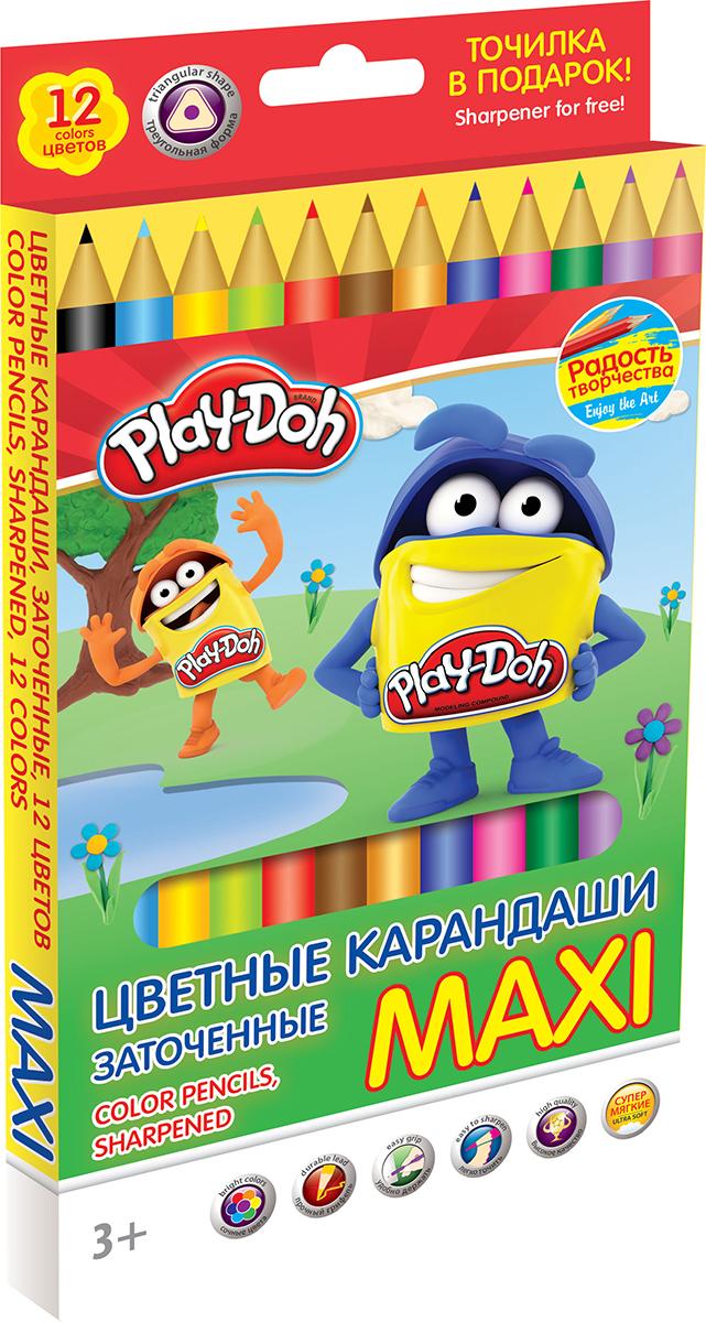 Play-Doh Набор цветных карандашей Maxi 12 цветовC13S041944Цветные карандаши Play-Doh Maxi откроют юным художникам новые горизонты для творчества, а также помогут отлично развить мелкую моторику рук, цветовое восприятие, фантазию и воображение. Карандаши удобно держать в руках, а утолщенный мягкий грифель не требует сильного нажима. Трехгранная форма корпуса прививает навык правильно держать пишущий инструмент. Комплект включает 12 заточенных карандашей ярких насыщенных цветов, а также точилку.