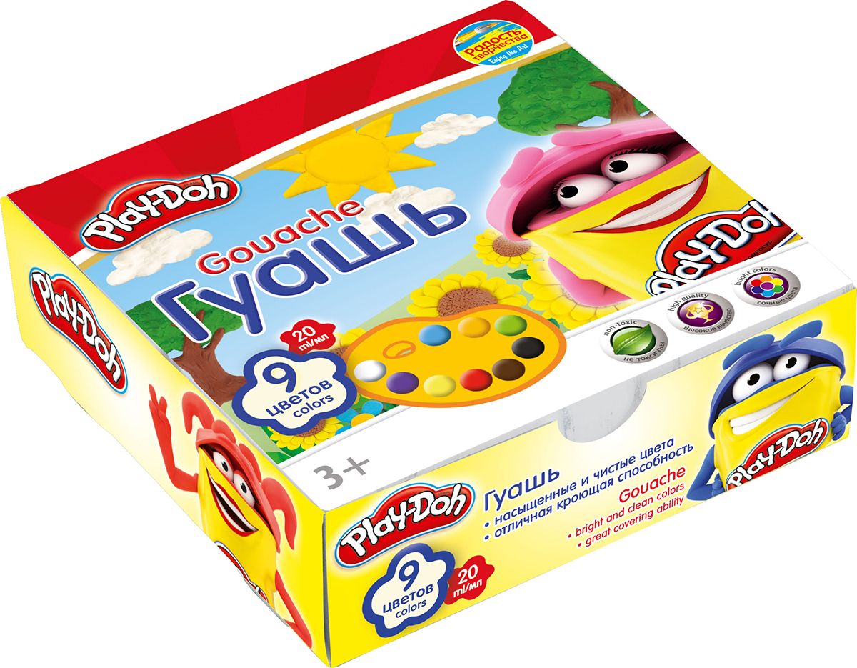 Play-Doh Краски гуашевые 9 цветовCS-GSA313020Краски гуашевые 9 цветов. Объем краски одного цвета 20 мл.
