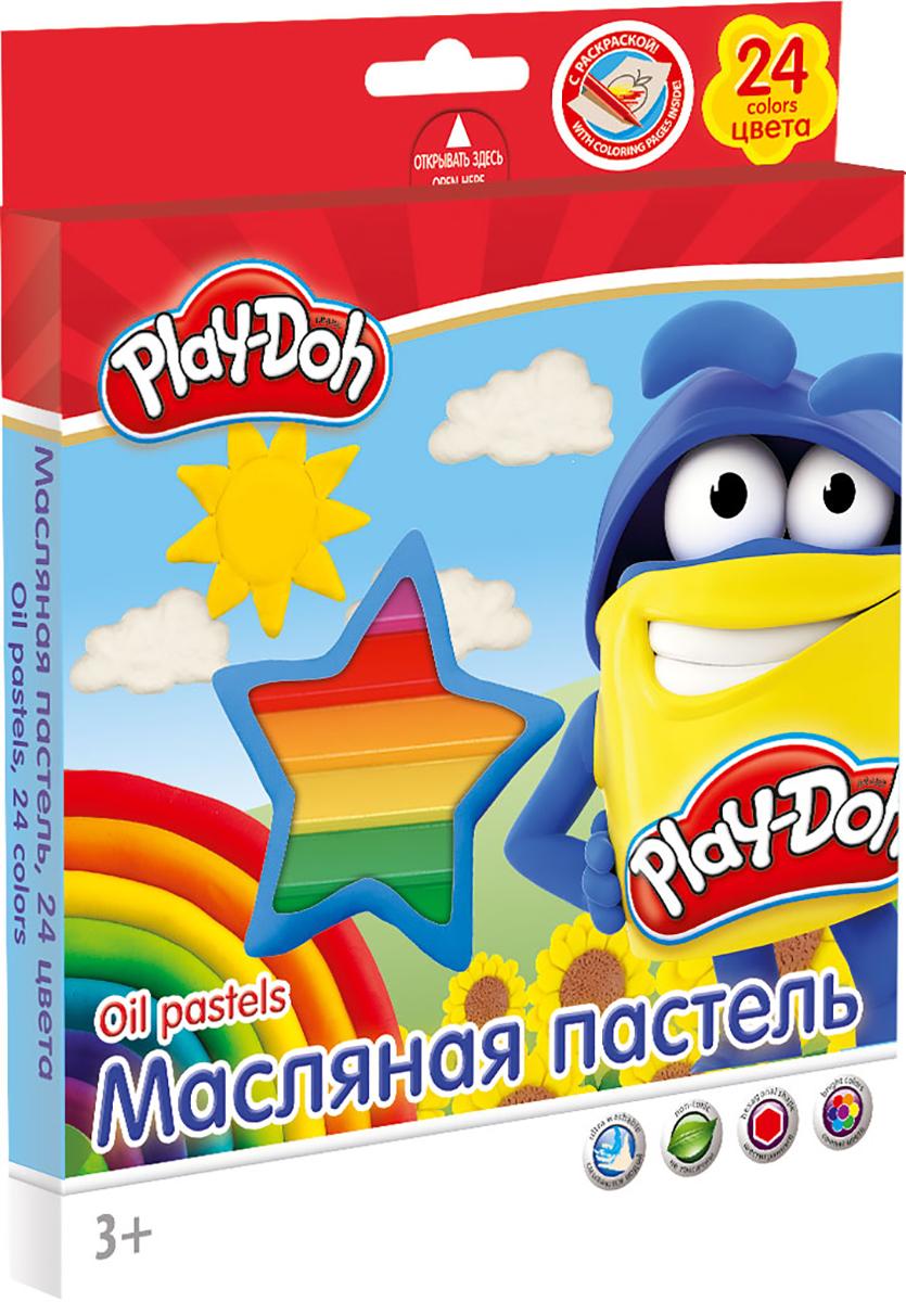 Play-Doh Краска пастель масляная 24 цветаFS-00897Масляная пастель Play-Doh легко ложится на бумагу с большей цветовой плотностью и создает мягкие штрихи. Она не выгорает на солнце, не темнеет и не трескается. Цвета легко смешиваются между собой. Так же следы на руках и одежде от масляной пастели хорошо смываются обычной водой. Размер 1 мелка: длина 7,2 см, диаметр 1,1 см. Каждый мелок обклеен бумажной оберткой, Шестиугольная форма. Масляная пастель абсолютно безопасна для детей и соответствует строжайшим европейским стандартам.