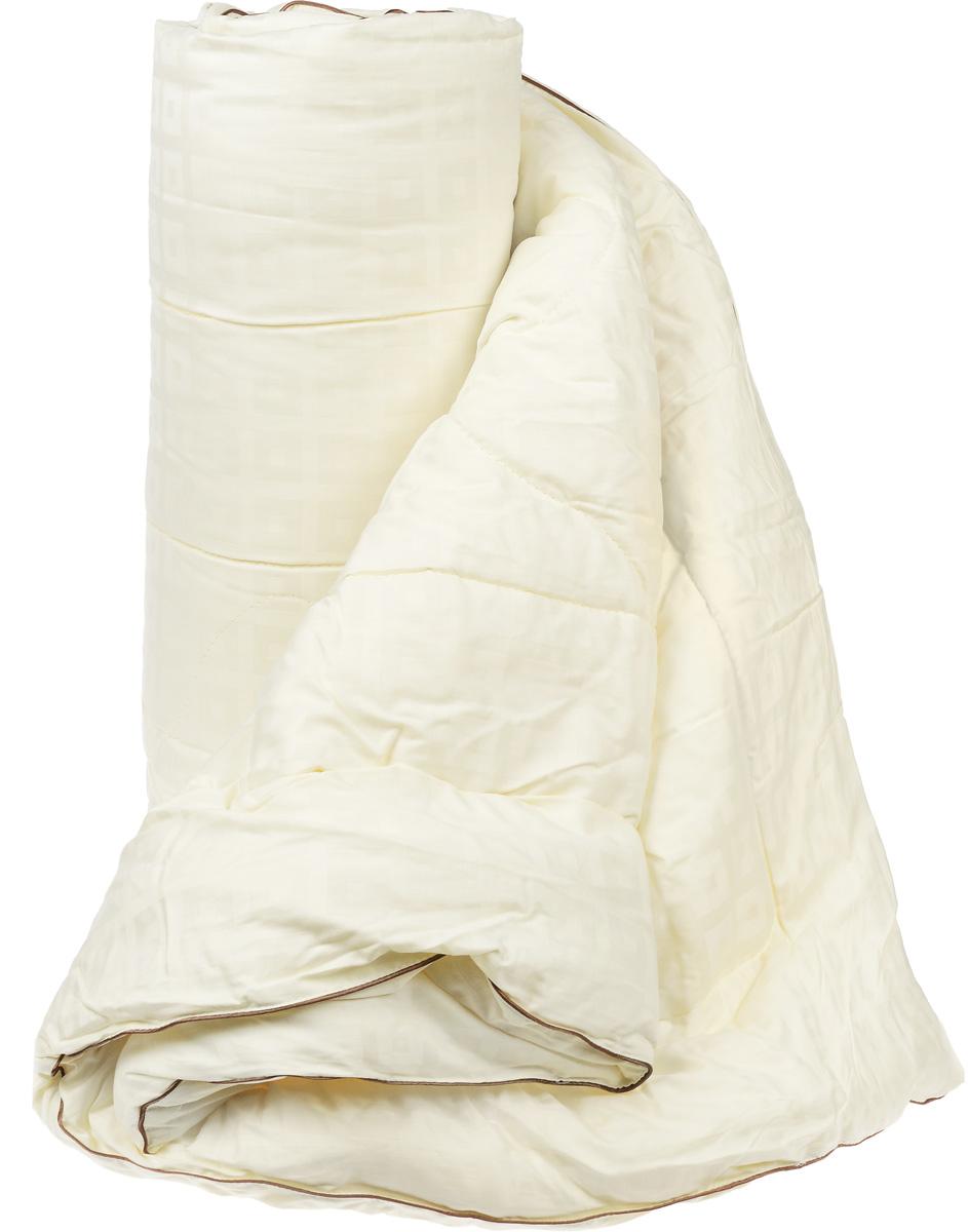 Одеяло легкое Легкие сны Милана, наполнитель: шерсть кашмирской козы, 172 x 205 смМХПЭ-18-1Легкое стеганое одеяло Легкие сны Милана с наполнителем из шерсти кашмирской козы расслабит, снимет усталость и подарит вам спокойный и здоровый сон. Пух горной козы не содержит органических жиров, в нем не заводятся пылевые клещи, вызывающие аллергические реакции. Он очень легкий и обладает отличной теплоемкостью. Одеяла из такого наполнителя имеют широкий диапазон климатической комфортности и благоприятно влияют на самочувствие людей, страдающих заболеваниями опорно-двигательной системы.Шерстяные волокна, получаемые из чесаной шерсти горной козы, имеют полую структуру, придающую изделиям высокую износоустойчивость.Чехол одеяла, выполненный из сатина (100% хлопка), отлично пропускает воздух, создавая эффект сухого тепла.Одеяло простегано и окантовано. Стежка надежно удерживает наполнитель внутри и не позволяет ему скатываться. Плотность наполнителя: 200 г/м2.Рекомендации по уходу:Отбеливание, стирка, барабанная сушка и глажка запрещены.Разрешается деликатная химчистка.