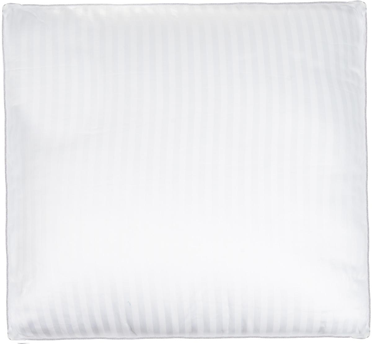Подушка Легкие сны Элисон, наполнитель: лебяжий пух, 68 х 68 смV30 AC DCПодушка Легкие сны Элисон поможет расслабиться, снимет усталость и подарит вам спокойный и здоровый сон. В качестве наполнителя используется синтетический сверхтонкий и практически невесомый материал, названный лебяжьим пухом. Изделия с наполнителем из искусственного пуха легкие, мягкие и не вызывают аллергии. Чехол изделия выполнен из белоснежного сатина (100% хлопок) с тиснением страйп (полосы), по краю подушки выполнена отделка атласным кантом серого цвета. Подушка с таким наполнителем практична, легко стирается и быстро сохнет, сохраняя свои первоначальные свойства. Подушку можно стирать в стиральной машине. Степень поддержки: средняя.
