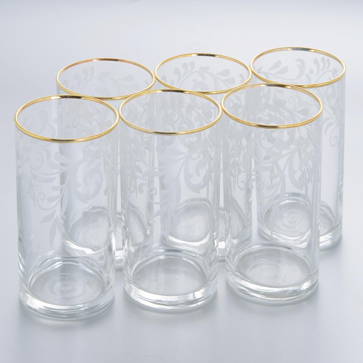 Набор стаканов для сока Гусь-Хрустальный Веточка, 290 мл, 6 штVT-1520(SR)Набор Гусь-Хрустальный Веточка состоит из 6 высоких стаканов, изготовленных из высококачественного натрий-кальций-силикатного стекла. Изделия оформлены красивым зеркальным покрытием и белым матовым орнаментом. Стаканы предназначены для подачи сока, а также воды и коктейлей. Такой набор прекрасно дополнит праздничный стол и станет желанным подарком в любом доме. Разрешается мыть в посудомоечной машине. Диаметр стакана (по верхнему краю): 6 см. Высота стакана: 13,5 см.Уважаемые клиенты! Обращаем ваше внимание на незначительные изменения в дизайне товара, допускаемые производителем. Поставка осуществляется в зависимости от наличия на складе.