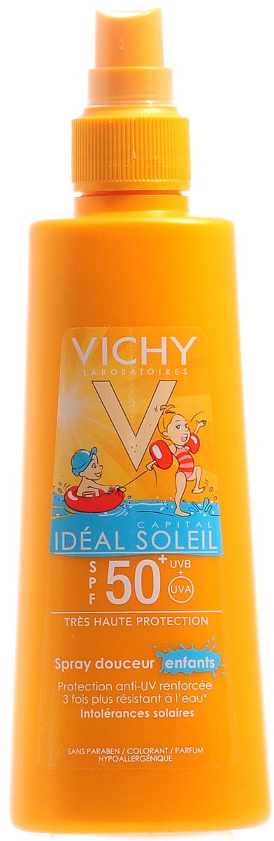 Vichy Спрей солнцезащитный для детей SPF50+ 200мл1623Средство заметно при нанесении. Устойчиво к воздействию воды и песка. Особенно рекомендуется для светлой или чувствительной к солнцу детской кожи.