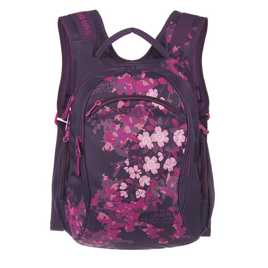 Рюкзак городской Grizzly, цвет: фиолетовый, 16 л. RD-533-1/3 чемодан grizzly цвет фиолетовый черный 40 л lt 595 20 3