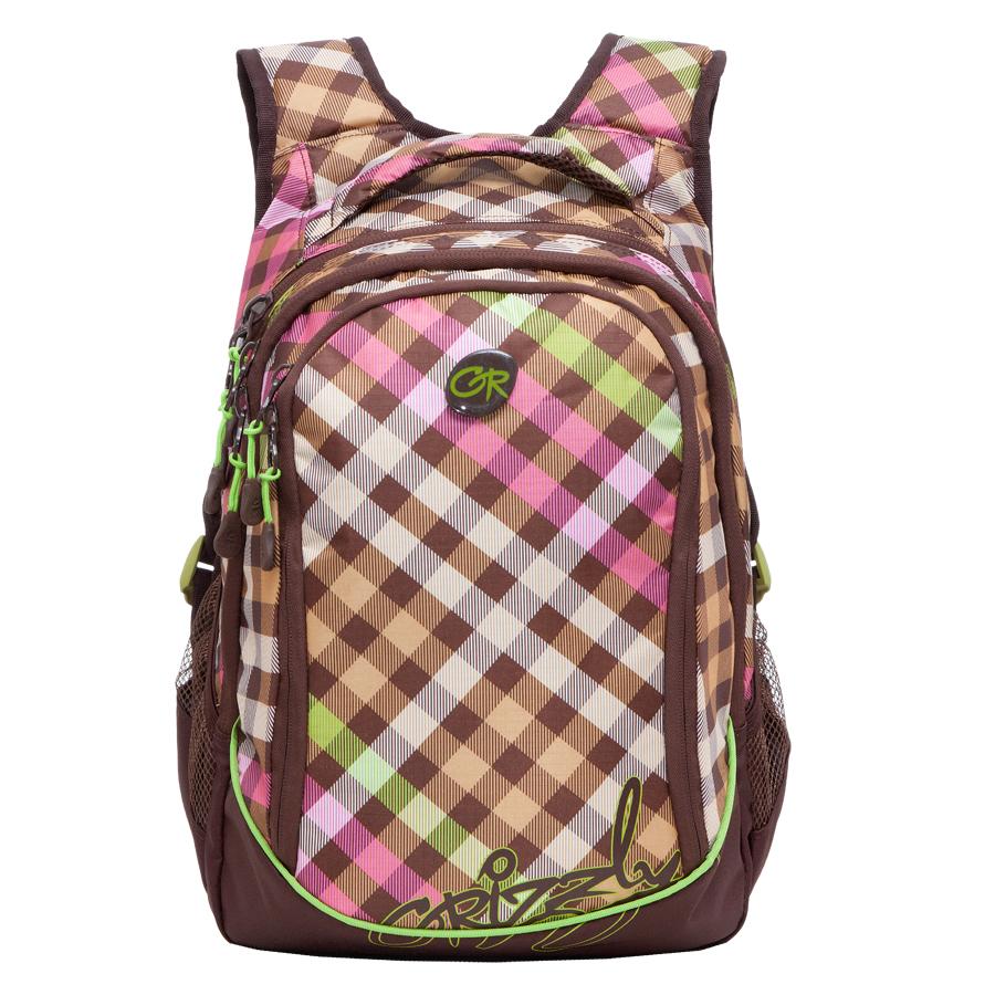 Рюкзак городской Grizzly, цвет: коричневый, салатовый, 18 л. RD-635-1/2BP-001 BKРюкзак молодежный, три отделения, боковые карманы из сетки, внутренний карман на молнии, внутренний составной пенал-органайзер, укрепленная спинка, мягкая укрепленная ручка, укрепленные лямки