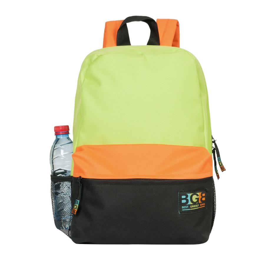 Рюкзак Grizzly, цвет: салатовый, черный, оранжевый. RD-644-2/3LSCB-UT1-507Яркий рюкзак Grizzly не оставит вас равнодушными. Он выполнен из качественного плотного полиэстера в комбинированных цветах. Рюкзак оформлен фирменной нашивкой на переднем кармане. На лицевой стороне расположен небольшой удобный карман на молнии. С боковых сторон находятся сеточные карманы для переноса бутылок с водой. На тыльной стороне расположен вшитый карман на молнии. Внутри находится основное отделение, в котором расположен открытый карман для мелочей. Рюкзак оснащен удобными лямками, длина которых регулируется с помощью пряжек. Такой качественный и модный рюкзак займет достойное место в вашем гардеробе.