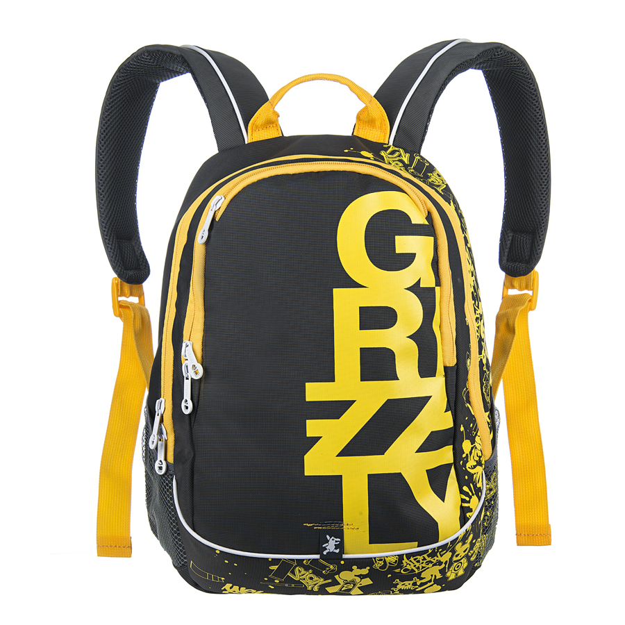 Рюкзак городской мужской Grizzly, цвет: темно-серый, желтый, 18 л. RU-400-1/4WA-1505020Рюкзак городской Grizzl выполнен из высококачественного нейлона и оформлен оригинальным фирменным принтом. Рюкзак имеет петлю для подвешивания и две удобные лямки, длина которых регулируется с помощью пряжек. На лицевой стороне расположено два основных отделения на молнии, которые содержат внутренний подвесной карман и карман-органайзер для канцелярских товаров. Также на лицевой стороне находится внутренний карман на молнии. Рюкзак оснащен двумя боковыми карманами из сетки. Изделие застегивается на застежку-молнию. Внешняя сторона дополнена анатомической укрепленной спинкой.