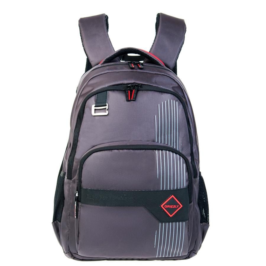 Рюкзак городской мужской Grizzly, цвет: темно-серый, 20 л. RU-618-3/3 чемодан grizzly цвет фиолетовый черный 40 л lt 595 20 3