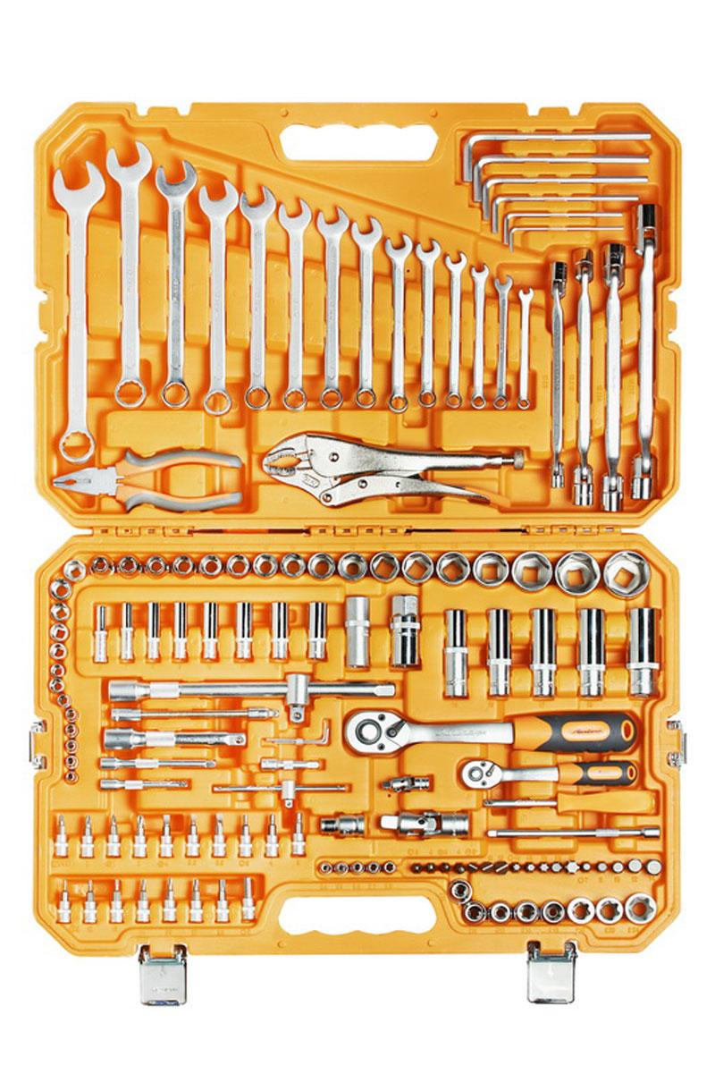 Набор инструментов Airline, универсальный, в пластиковом кейсе, 137 предметовAT-137-10Набор инструментов Airline, состоящий из 137 предметов, позволяет осуществлять самый широкий спектр разноплановых работ в сфере ремонта. Высокое качество инструментов, проверенное тщательной системой контроля, обеспечивает не только удобство в применении, но и гарантию долгосрочного использования.Состав набора: 1/4 дюйма Головка торцевая 6 г 4, 4.5, 5, 5.5, 6, 7, 8, 9, 10, 11, 12, 13, 14Головка торцевая удлиненная 6 г 6, 7, 8, 9, 10, 11, 12, 13Трещоточная рукоятка 1/4 дюйма, 72 зуба Вороток Т-образный 1/4 дюйма Отвёрточная рукоятка 1/4 дюйма - 1/4 дюйма Удлинитель 50 мм, 75 мм, 100 мм, 150 мм Головка торцевая TORX E4, E5, E6, E7, E8Карданный шарнир 1/4 дюйма Удлинитель гибкий 145 мм Г-образный шестигранный ключ 1.5 мм, 2 мм, 2.5 мм Г-образный шестигранный удлинённый ключ 3, 4, 5, 6, 7, 8 мм Биты в держателе 1/4 дюйма TX8, TX 10, TX 15, TX 20, TX 25, TX 27, TX 30, H3, H4, H5, H6, SL 4, SL 5.5, SL 6.5, PH 1, PH 2, PZ 1, PZ 21/2 дюйма Биты 8 мм H7, H8, H10, H12, H14, SL 8, SL 10, SL 12, PH 3, PH 4, PZ 3, PZ 4, TX 40, TX 45, TX 50, TX 55, TX 60Головка торцевая 6 г 8, 10, 11, 12, 13, 14, 15, 16, 17, 18, 19, 21, 22, 24, 27, 30, 32Головка торцевая удлиненная 6 г 14, 15, 17, 19, 22Головка свечная 16 мм, 21 мм Трещоточная рукоятка 1/2 дюйма, 72 зуба Держатель для бит 1/2 дюйма - 8 ммУдлинитель 125 мм, 250 мм Адаптор для Т-образного воротка 1/2 дюйма Карданный шарнир 1/2 дюйма Головка торцевая TORX E10, E11, E12, E14, E16, E18, E20, E24Ключ комбинированный 6, 7, 8, 9, 10, 11, 12, 13, 14, 15, 16, 17, 19, 22 мм Зажим ручной (Пинцы) 250 ммКлюч шарнирный 8х10, 12х13, 14х15, 17х19 мм Плоскогубцы комбинированные 150 мм