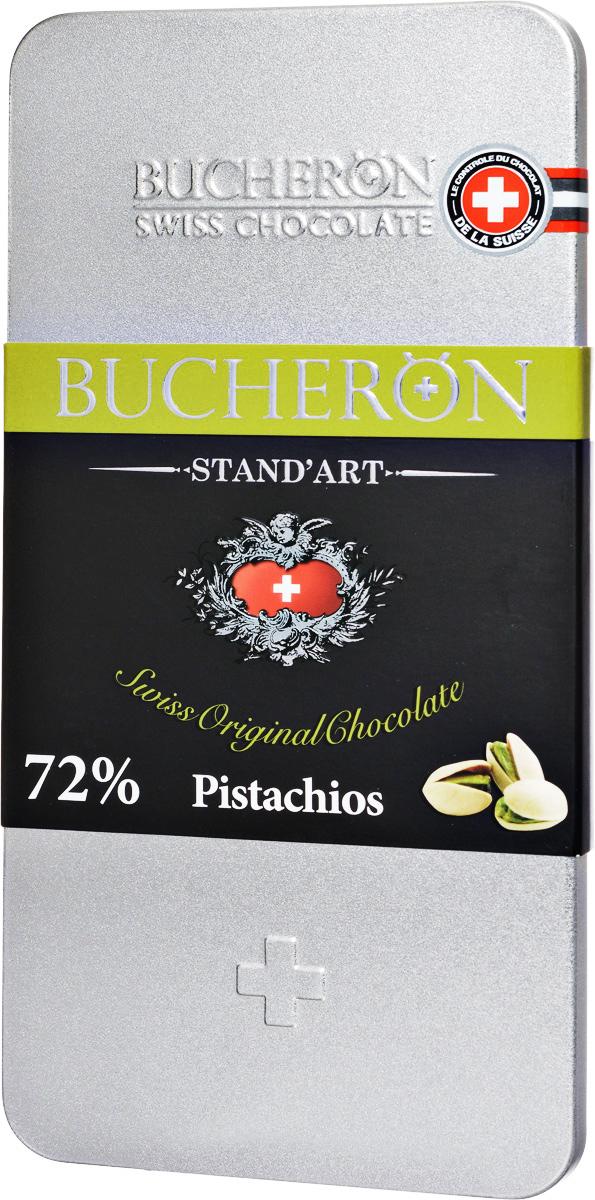 Bucheron Горький швейцарский шоколад с фисташками, 100 г0120710Премиальный горький швейцарский шоколад Bucheron с добавлением фисташек. Этот шоколад был приготовлен из какао-бобов Trinitario с Гватемалы, обеспечивающих однородность вкуса, позволяющую добавить в Бушерон яркий смолистый оттенок жаренных фисташек. С приятным долгим послевкусием.Ярославская кондитерская фабрика выпускает этот шоколад под полным контролем швейцарского концерна Барри Каллебаут. Барри Каллебаут - ведущий в мире производитель высококачественного шоколада и какао-продуктов. Компания осуществляет полный цикл операций от закупки и обработки какао-бобов до производства готовых шоколадных продуктов высшего класса.