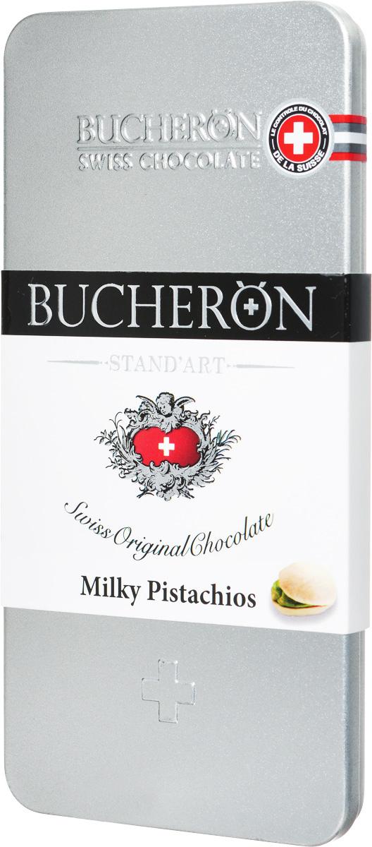 Bucheron Молочный шоколад с фисташками, 100 г14 6775Шоколад премиум класса Bucheron, упакованный в серебряную жестяную упаковку, - это настоящий швейцарский молочный шоколад с фисташками. Молочный шоколад Бушерон был приготовлен из какао-бобов Criollo из Кот-дИвуар, скрывающих в себе оттенки топленого молока, бананов, нежнейшего бисквита и овсяного печенья.Ярославская кондитерская фабрика выпускает этот шоколад под полным контролем швейцарского концерна Барри Каллебаут. Барри Каллебаут - ведущий в мире производитель высококачественного шоколада и какао-продуктов. Компания осуществляет полный цикл операций от закупки и обработки какао-бобов до производства готовых шоколадных продуктов высшего класса.