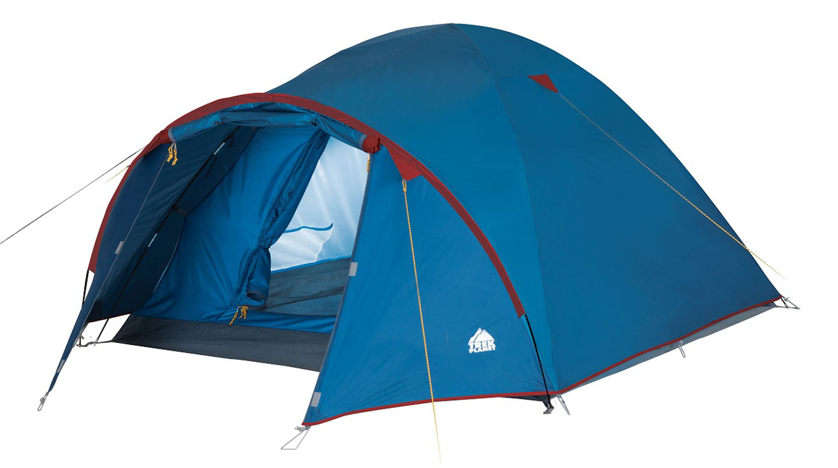 Палатка двухместная Trek Planet Vermont 2, цвет: синий0003929Двухслойная двухместная палатка куполообразной формы с вместительным тамбуром Trek Planet Vermont 2 - отлично подойдет для похода или путешествия.ОСОБЕННОСТИ МОДЕЛИ:- Палатка легко и быстро устанавливается,- Тент палатки из полиэстера, с пропиткой PU водостойкостью 2000 мм, надежно защитит от дождя и ветра, все швы проклеены,- Каркас выполнен из прочного стеклопластика,- Дно изготовлено из прочного армированного полиэтилена,- Внутренняя палатка, выполненная из дышащего полиэстера, обеспечивает вентиляцию помещения и позволяет конденсату испаряться, не проникая внутрь палатки,- Удобная D-образная дверь на входе во внутреннюю палатку,- Москитная сетка на входе в спальное отделение в полный размер двери,- Вентиляционный клапан,- Внутренние карманы для мелочей,- Возможность подвески фонаря в палатке.- Палатка упакована в сумку-чехол с ручками, застегивающуюся на застежку-молниюАртикул: 70107 Характеристики:Количество мест: 2Цвет: синий.Размер: 150 см х (210+80) см х 120 см.Размер в сложенном виде: 60 см х 16 см х 16 см.Материал внешнего тента: 100% полиэстер, пропитка PU.Водостойкость: 2000 мм.Материал внутренней палатки: 100% дышащий полиэстер.Материал пола: 100% армированный полиэтилен.Материл дуги: стекловолокно 7,9 мм.Вес палатки: 3,3 кг.
