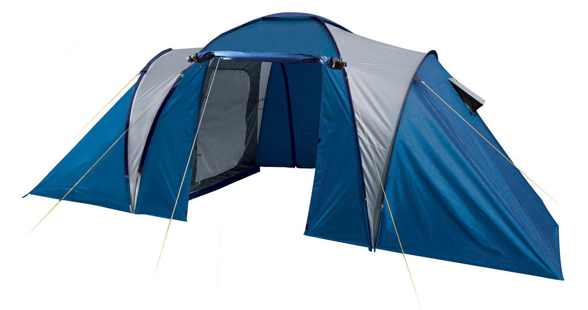 Палатка шестиместная TREK PLANET Toledo Twin 6 , цвет: синий, серыйперфорационные unisexШестиместная двухслойная семейная кемпинговая палатка TREK PLANET Toledo Twin 6 с двумя отдельными спальными отделениями, отличной вентиляцией и большим внутренним помещением между спальными отделениями - отличный выбор для большого семейного кемпинга и отдыха на природе.Особенности модели:- Тент палатки из полиэстера с пропиткой PU надежно защищает от дождя и ветра. - Все швы проклеены.- Большое и высокое внутреннее помещение между спальными отделениями палатки, где свободно размещается кемпинговый стол и стулья на 4 человек.- Эффективная потолочная система вентиляции в тамбуре, - Дно из прочного водонепроницаемого армированного полиэтилена позволяет устанавливать палатку на жесткой траве, песчаной поверхности, глине и т.д.- Дуги из прочного стекловолокна;- Внутренние палатки из дышащего полиэстера, обеспечивают вентиляцию помещения и позволяют конденсату испаряться, не проникая внутрь палатки;- Вентиляционные окна в спальных отделениях,- Удобная D-образная дверь на входах во внутренние палатки,- Москитная сетка на каждом входе во внутреннюю палатку в полный размер двери;- Внутренние карманы для мелочей в каждом отделении;- Возможность подвески фонаря в палатке;Для удобства транспортировки и хранения предусмотрен чехол из полиэстера, с двумя ручками и закрывающийся на застежку-молнию.Размер: 240 х (195+185+195) х 200 см.Размер внутренней палатки: 220 х 195 х 155 смМатериал внешнего тента: 100% полиэстер, пропитка PU.Водостойкость: 2000 мм.Материал внутренней палатки: 100% дышащий полиэстер.Материал пола: 100% полиэтилен.Материл дуги: стекловолокно 9,5 мм.Размер в сложенном виде: 23 х 23х 68 см.