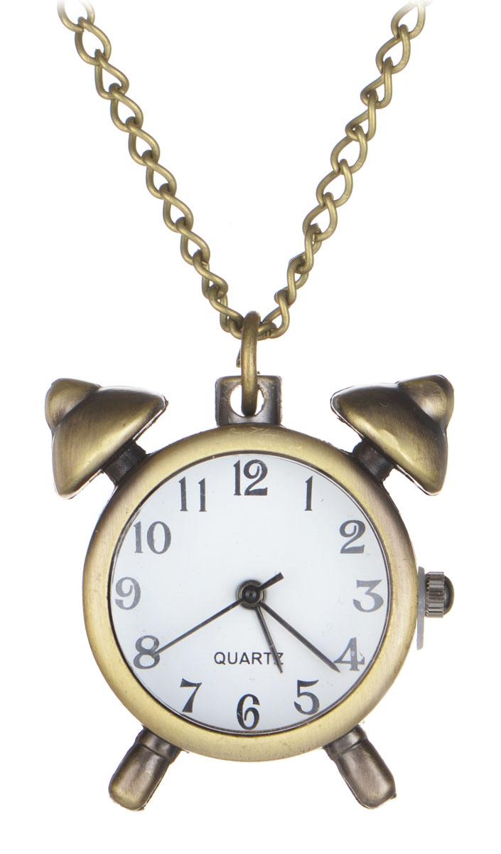 Кулон-часы Будильник. ANTIK-041BM8434-58AEОригинальный кулон-часы Mitya Veselkov Будильник - стильный аксессуар с элементом функциональности. Представляет собой цепочку с подвеской в виде будильника цвета античного золота, выполненную из металлического сплава. В центре кулона располагаются кварцевые часики с круглым циферблатом и тремя стрелками.Этот яркий и необычный аксессуар, несомненно, привлечет внимание и добавит вашему образу загадочности и индивидуальности.