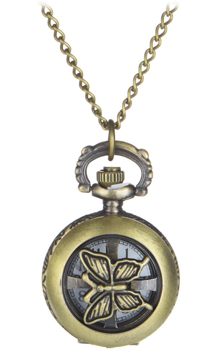 Кулон-часы Медальон-мотылек. ANTIK-006BM8434-58AEИзящный кулон-часы Медальон-мотылек - стильный аксессуар с элементом функциональности. Представляет собой цепочку из металлического сплава с подвеской круглой формы. Корпус цвета античного золота выполнен из металла и декорирован с одной стороны оригинальными изображениями цветов, а с другой - крутящимся декоративным элементом в виде мотылька. Внутри корпуса под крышкой располагаются кварцевые часики с круглым циферблатом и тремя стрелками. Сверху расположена кнопка, открывающая крышку часов.Изделие застегивается на карабин. Этот яркий и необычный аксессуар, несомненно, привлечет внимание и добавит вашему образу загадочности и индивидуальности.