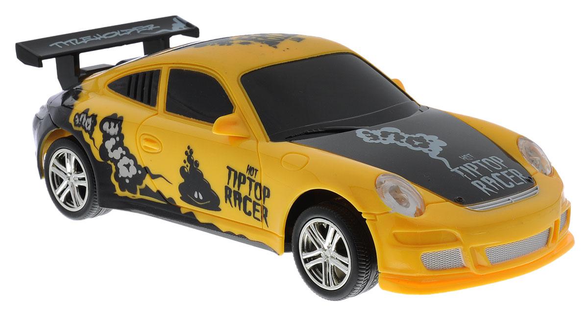 """Машина на радиоуправлении Balbi """"Hot Tiptop Racer"""" привлечет внимание вашего ребенка и не позволит ему скучать! Игрушка выполнена из безопасного пластика. Колеса игрушки прорезинены, что обеспечивает плавный ход, машинка не портит напольное покрытие. Управление машинкой происходит с помощью пульта. Автомобиль двигается вперед и назад, поворачивает направо, налево и останавливается. Пульт управления работает на частоте 27 MHz. Автомобиль обладает световыми эффектами. Радиоуправляемые игрушки способствуют развитию координации движений, моторики и ловкости. Ваш ребенок часами будет играть с машиной, придумывая различные истории и устраивая соревнования. Машина работает от 3 батареек типа АА (не входят в комплект). Для работы пульта управления необходимы 2 батарейки типа AA (не входят в комплект)."""
