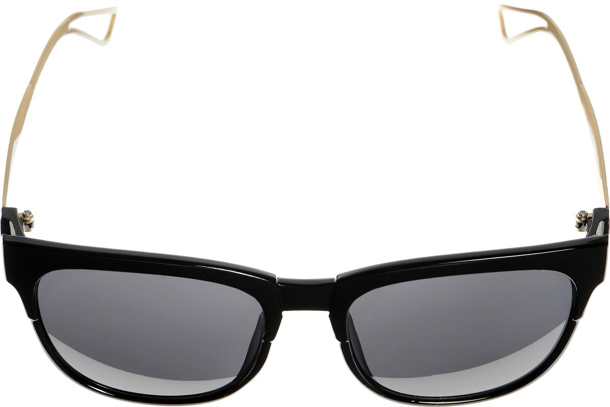 Очки солнцезащитные женские Selena, цвет: черный, золотистый. 80033361INT-06501Солнцезащитные женские очки Selena выполнены из металла с элементами из высококачественного пластика. Дужки по краям дополнены небольшими вырезами.Линзы данных очков с высокоэффективным фильтром UV-400 Protection обеспечивают полную защиту от ультрафиолетовых лучей. Используемый пластик не искажает изображение, не подвержен нагреванию и вредному воздействию солнечных лучей.Такие очки защитят глаза от ультрафиолетовых лучей, подчеркнут вашу индивидуальность и сделают ваш образ завершенным.