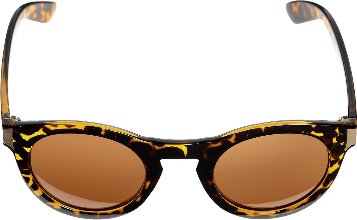 Очки солнцезащитные женские Selena, цвет: темно-коричневый, золотистый. 80033441BM8434-58AEСолнцезащитные женские очки Selena выполнены из высококачественного пластика с вставками из металла и оформлены оригинальным принтом.Линзы данных очков с высокоэффективным фильтром UV-400 Protection обеспечивают полную защиту от ультрафиолетовых лучей. Используемый пластик не искажает изображение, не подвержен нагреванию и вредному воздействию солнечных лучей.Такие очки защитят глаза от ультрафиолетовых лучей, подчеркнут вашу индивидуальность и сделают ваш образ завершенным.