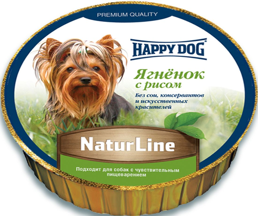 Консервы для собак Happy Dog Natur line, паштет с ягненком и рисом, 125 г дог ланч консервы ламистер крем суфле с говядиной для собак dog lunch 125 г
