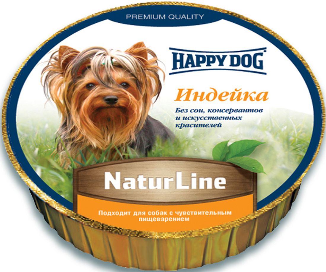 Happy Dog Нежный паштет Индейка, сбалансированный мясной рацион, 125 г0120710Сбалансированный натуральный корм прекрасно зарекомендовал себя для кормления собак с чувствительным пищеварением. Изготовлен из высоко качественного и легкого мяса индейки с добавлением витаминно-минерального комплекса. Не содержит сои, искусственных красителей, консервантов и генномодифицированных продуктов.