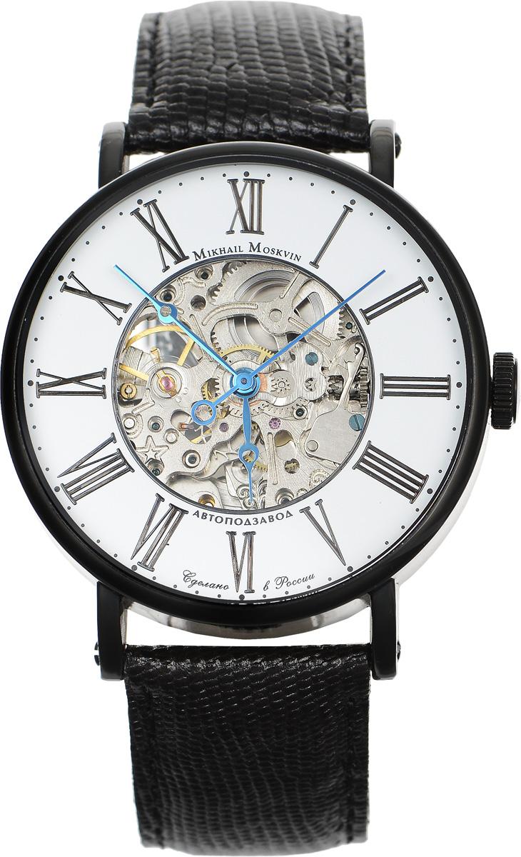 Часы наручные мужские Mikhail Moskvin, цвет: черный. 1176B11L3BM8434-58AEЭлегантные мужские часы Mikhail Moskvin изготовлены из нержавеющей стали. Циферблат оформлен символикой бренда.Корпус часов имеет степень влагозащиты, равную 3 Bar, оснащен механическим механизмом, а также устойчивым к царапинам минеральным стеклом с сапфировым напылением. Задняя крышка дополнена стеклянной вставкой, благодаря чему видно элементы механизма. Ремешок, выполненный из натуральной кожи с декоративным тиснением под кожу рептилии, застегивается на пряжку.Часы поставляются в фирменной упаковке.Часы Mikhail Moskvin подчеркнут отменное чувство стиля их обладателя.