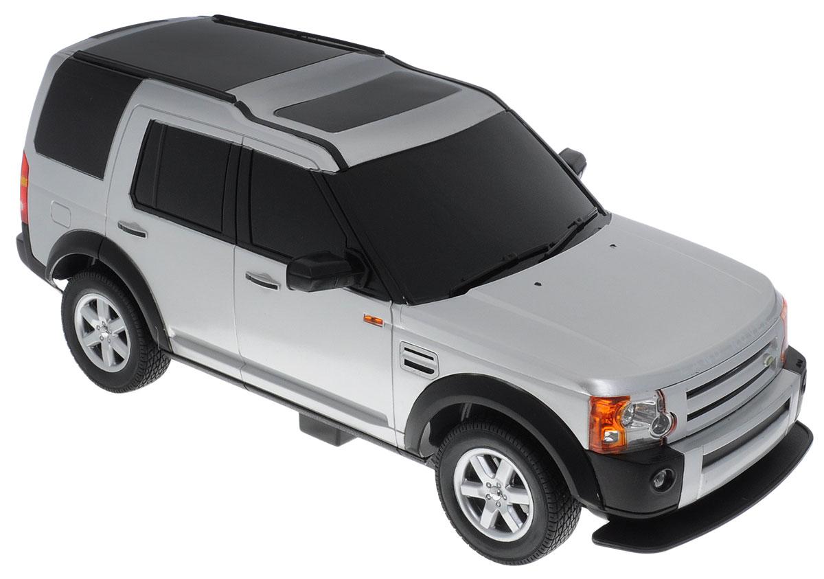 """Радиоуправляемая модель Rastar """"Land Rover Discovery 3"""" привлечет внимание взрослого и ребенка и понравится любому, кто увлекается автомобилями. Серьезные габариты придают реалистичность в управлении. Авто отличается потрясающей маневренностью, динамикой и покладистостью. Это точная копия настоящего авто в масштабе 1:14. Машина обладает неповторимым провокационным стилем. Возможные движения: вперед, назад, вправо, влево, остановка. Имеются световые эффекты. Колеса игрушки прорезинены и обеспечивают плавный ход, машинка не портит напольное покрытие. Радиоуправляемые игрушки способствуют развитию координации движений, моторики и ловкости. Пульт управления работает на частоте 40 MHz. Для работы машины необходимо купить 5 батареек типа АА, для работы пульта управления батарейку типа """"Крона"""" (не входят в комплект)."""