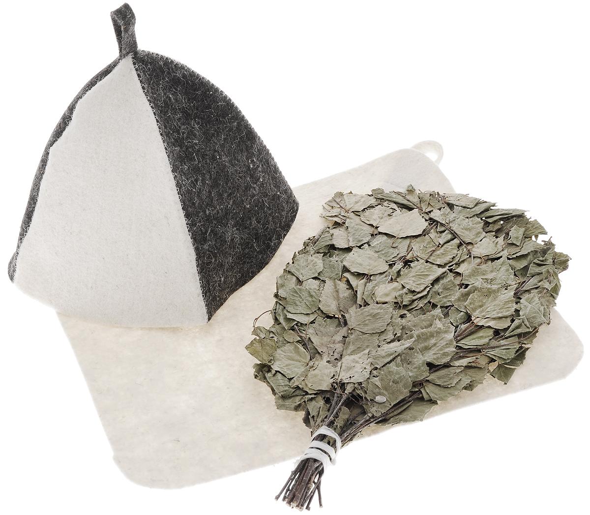Набор подарочный для бани и сауны Банные штучки, цвет: молочный, черный, 3 предмета41619Оригинальный набор Банные штучки состоит из березового веника, коврика и шапки. Березовый веник используется в бане для общего тонизирования, оздоровления и расслабления организма. Коврик и шапка выполнены из войлока. Коврик используется в качестве подстилки на пол или скамейки, он убережет вас от ожогов и воздействия на кожу высоких температур. Шапка - незаменимый атрибут в бане, она предотвращает сухость и ломкость волос, а также защищает от головокружения. Подарочный набор Банные штучки включает все необходимое, что понадобится в бане. Идеальный подарок для заядлых банщиков. Размер коврика: 39 х 35 см. Длина веника: 42 см. Высота шапки: 23 см. Диаметр основания шапки: 38 см.