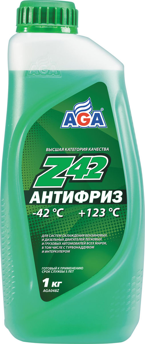 Антифриз, готовый к применению AGA, зеленый, -42 °С. AGA 048 ZS03301004Срок службы — до 5 лет, или 150 000 км пробега. Рабочий диапазон температур: от –42 до +123 °C. Отличается усиленной антикавитационной защитой припоя, алюминия, меди, латуни, сталии чугуна. Разработан с учетом требований: ASTMD 4985/5345; BMW N600 69.0; DaimlerChrysler DBL7700.20; Audi, Porsche, Seat, Skoda, VW TL 774?D;G-48; Ford WSS-M97 B44?D, TTM АвтоВАЗ.