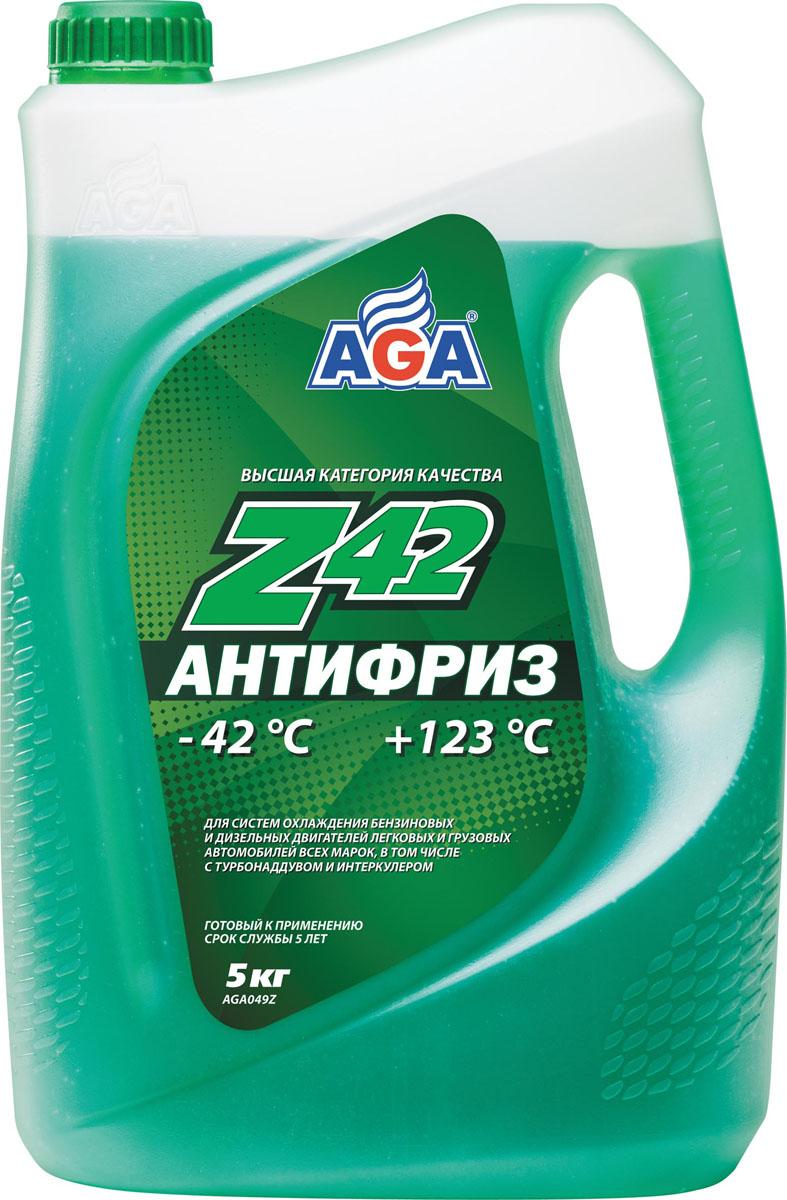Антифриз, готовый к применению AGA, зеленый, -42 °С. AGA 049 Z790009Срок службы — до 5 лет, или 150 000 км пробега. Рабочий диапазон температур: от –42 до +123 °C. Отличается усиленной антикавитационной защитой припоя, алюминия, меди, латуни, сталии чугуна. Разработан с учетом требований: ASTMD 4985/5345; BMW N600 69.0; DaimlerChrysler DBL7700.20; Audi, Porsche, Seat, Skoda, VW TL 774?D;G-48; Ford WSS-M97 B44?D, TTM АвтоВАЗ.