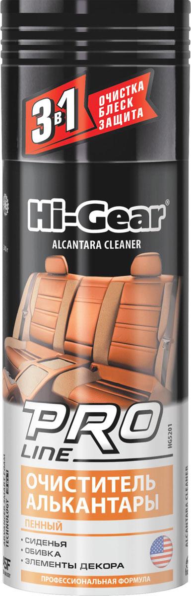 Очиститель алькантары (пенный) профессиональная формула Hi-Gear. HG 5201SVC-300Высокотехнологичный пенный состав для очистки, обновления и восстановления обивки из алькантары. Придает обивке ухоженный внешний вид. Позволяет проводить глубокую очистку, легко справляясь с различными видами загрязнений, в том числе с застарелыми. При этом поверхность покрывается слоем особого высокотехнологичного синтетического полимера, который создает надежный долговременный защитный барьер от загрязнений и ультрафиолетового излучения.СИДЕНЬЯОБИВКАЭЛЕМЕНТЫ ДЕКОРАПрименение: используйте при положительной температуре. Не применяйте на нагретых поверхностях. Перед началом обработки проверьте очиститель на совместимость с красителем алькантары на незаметном участке обивки. Равномерно нанесите пену на очищаемую поверхность, через 1-2 минуты протрите ее тканью из хлопка или микрофибры до удаления загрязнений. Состав также может использоваться для очистки кожаных и тканых обивок. Не подходит для очистки замши.
