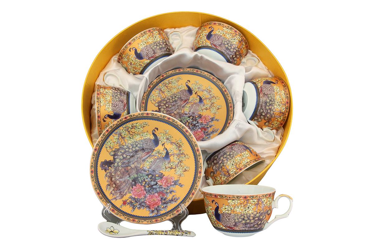 Чайный набор Elan Gallery Павлин, 12 предметов с ложками. 180814FS-91909Чайный набор - это отличный подарок, подходящий для любого повода. Принесет в ваш дом красоту и уют душевных чаепитий! Размеры: 110x60x95 мм, 150x150x20 мм.