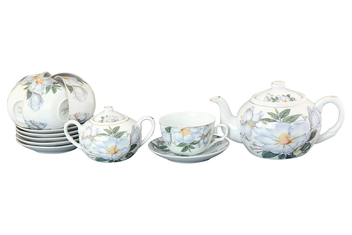Чайный набор Elan Gallery Белый шиповник, 14 предметовVT-1520(SR)Чайный сервиз на 6 персон из традиционной коллекции Белый шиповник - неотъемлемый атрибут чаепития и служит не только посудой, но и источником эстетического наслаждения. Изделие имеет подарочную упаковку, идеальный подарок для ваших близких! Чашки -250 мл., сахарница - 400 мл., чайник - 900 мл. Размеры: 60x110x95 мм, 140x140x20 мм.