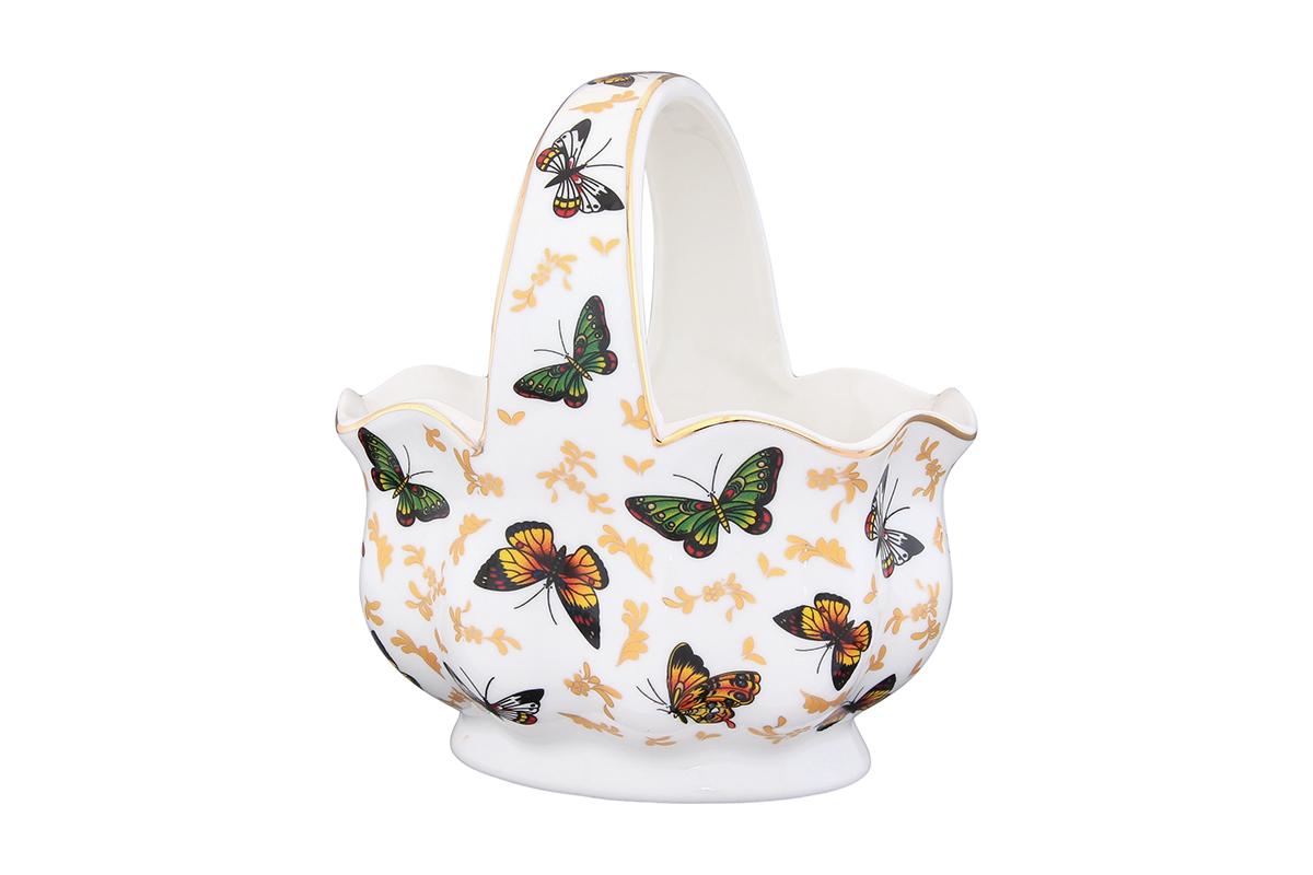 Корзинка Elan Gallery Бабочки115510Корзинка Elan Gallery Бабочки изготовлена из высококачественной керамики с глазурованным покрытием. Изделие декорировано рисунком в виде бабочек и золотистой эмалью. Декоративная корзинка может использоваться как конфетница. Она украсит ваш интерьер и станет прекрасным подарком для ваших близких! Оригинальный дизайн наполнит ваш дом праздничным настроением.