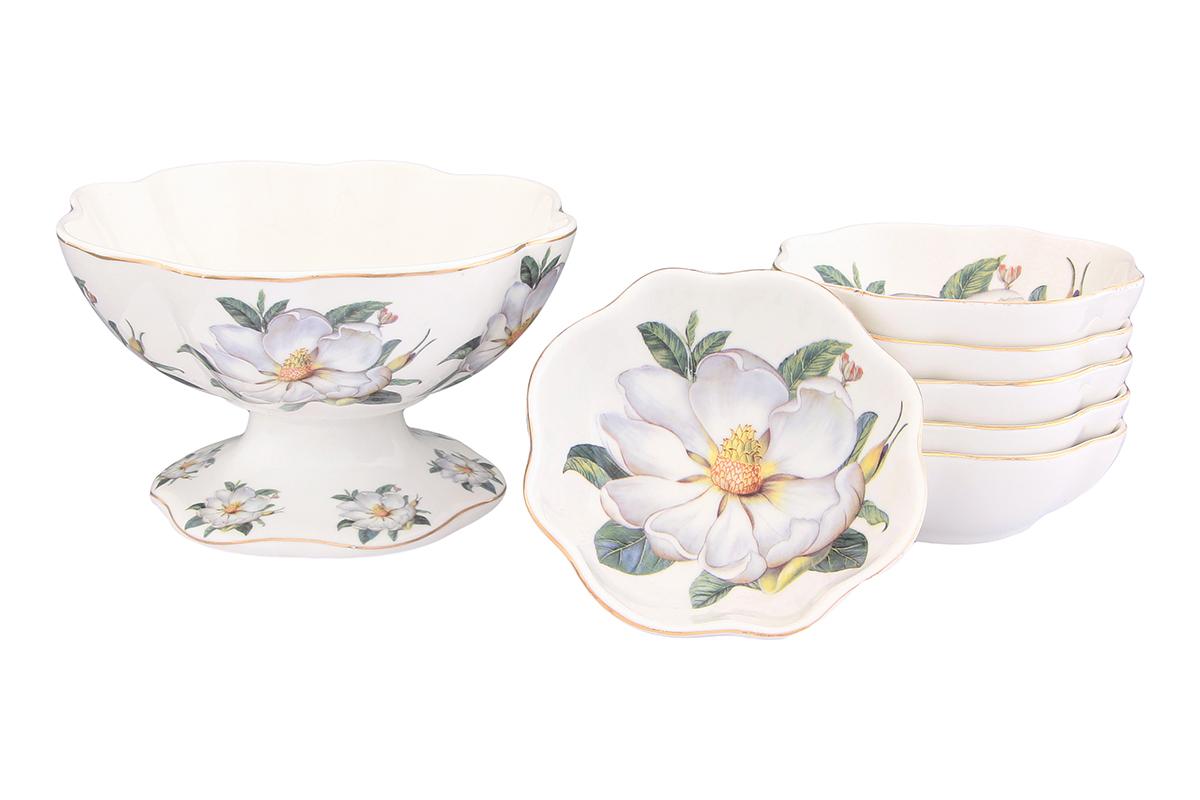 Набор для варенья Elan Gallery Белый шиповник, 7 предметов115510Набор для варенья Elan Gallery Белый шиповник состоит из вазы и 6 розеток для варенья. Предметы набора выполнены из высококачественной керамики и оформлены нежным цветочным рисунком. Изящная форма, яркий дизайн и функциональность позволят набору занять достойное место в вашем кухонном инвентаре. Набор упакован в подарочную коробку. Внутренняя часть коробки задрапирована белой атласной тканью. Не рекомендуется применять абразивные моющие вещества. Не использовать в микроволновой печи. Диаметр вазы по верхнему краю: 14 см. Высота вазы: 8,5 см. Объем вазы: 350 мл. Диаметр розетки: 10 см. Высота розетки: 3,5 см.Объем розетки: 100 мл.
