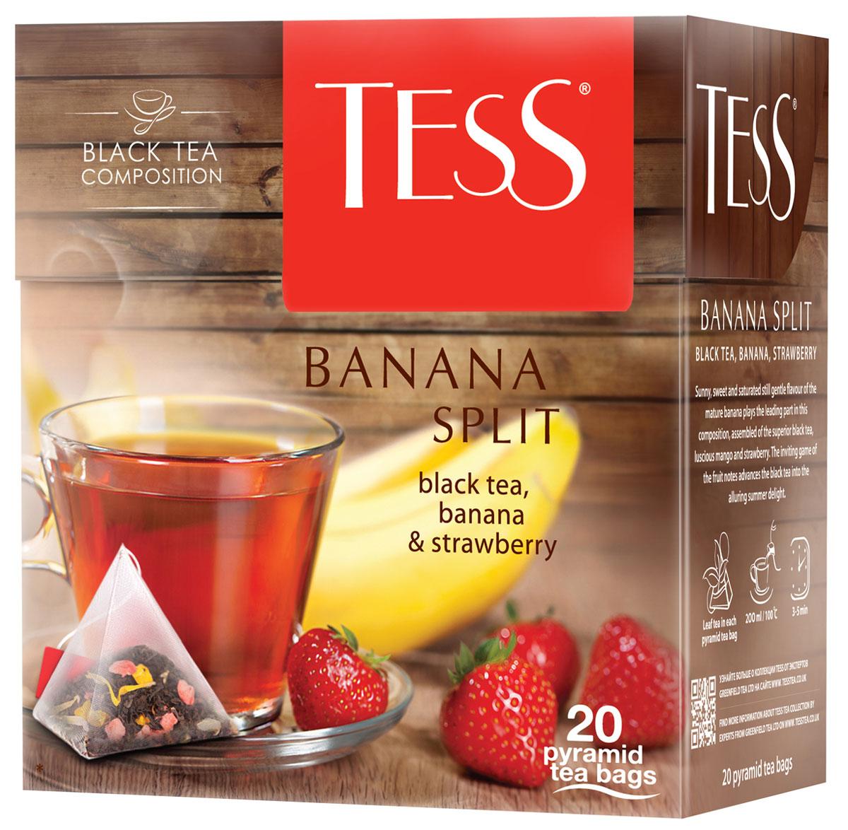 Tess Banana Split фруктовый чай в пакетиках, 20 шт101246Солнечный, сладковато-насыщенный, но нежный аромат спелого банана играет главную роль в композиции, составленной из превосходного черного чая Tess Banana Split, сочного манго и клубники. Заманчивая игра фруктовых оттенков превращает черный чай в соблазнительный летний десерт.