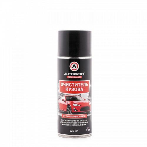 Очиститель кузова Autoprofi от битумных, жировых и масляных пятен, 520 мл150603Высокоэффективное средство служит для очистки кузова и стекол автомобиля от битумных, жировых и масляных загрязнений, а также консервационных покрытий. Активные компоненты эффективно растворяют и очищают поверхность от загрязнений. Средство не оказывает вредного воздействия на лакокрасочное покрытие, пластик, резину и хромированные детали автомобиля. Способ применения: встряхнуть баллон и равномерно нанести средство на обрабатываемую поверхность. В зависимости от степени загрязнения дать ему подействовать 1-3 минуты. Удалить загрязнение губкой или мягкой тканью, не дожидаясь высыхания состава. При необходимости повторить процедуру еще раз. По окончании обработки смыть водой и протереть досуха мягкой сухой тканью. Хранить в сухом проветриваемом месте при температуре от -20°С до +50°С.
