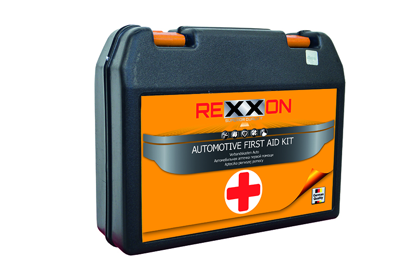 Аптечка первой помощи автомобильная REXXON, в пластиковой коробке бинт стерильный 14 см х 7 м экстра плюс высокой плотности